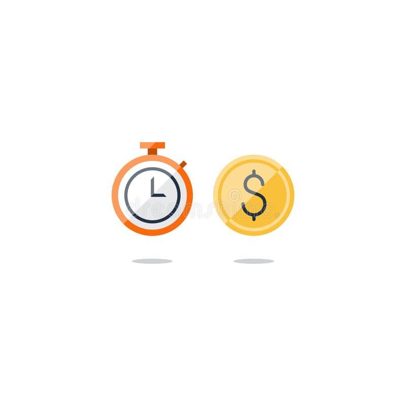 Affärstid, pengar och finanssymboler royaltyfri illustrationer