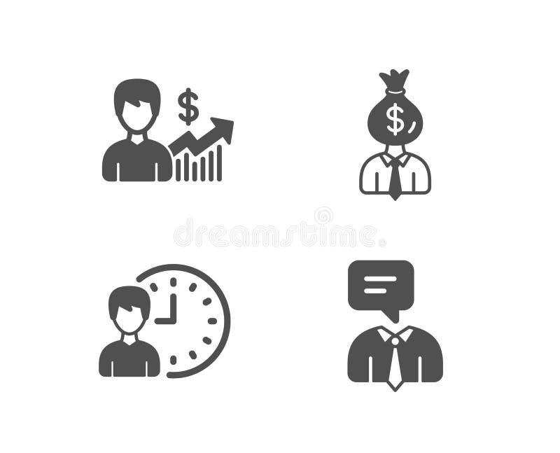 Affärstillväxt, chef och arbetstid symboler Supporttjänsttecken vektor illustrationer