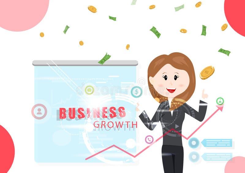 Affärstillväxt, rapport för kvinnaarbetare, information om teknologi, investering, illustration för vektor för vinstpengar fallan vektor illustrationer