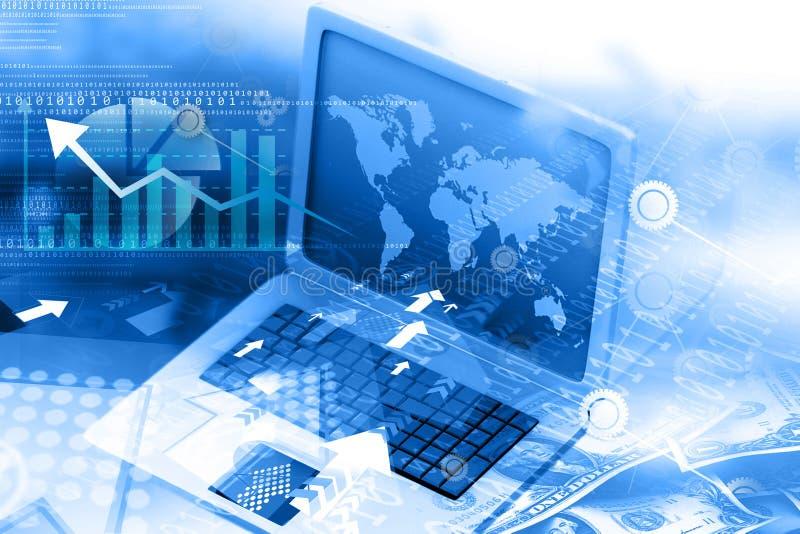 Affärstillväxt som analyserar med bärbara datorn stock illustrationer
