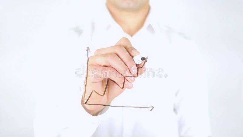 Affärstillväxtgraf, manhandstil på exponeringsglas som är handskrivet royaltyfri fotografi