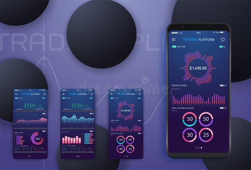 Affärstrendanalys på smartphoneskärmen med grafer, perspektivlägenhetdesign som är infographic på kulör bakgrund royaltyfri illustrationer