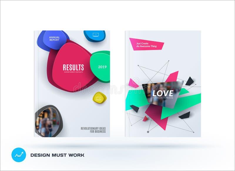 Affärsuppsättning av designbroschyren, abstrakt årsrapport, horisontalräkningsorientering, reklamblad i A4 med den färgglade vekt vektor illustrationer