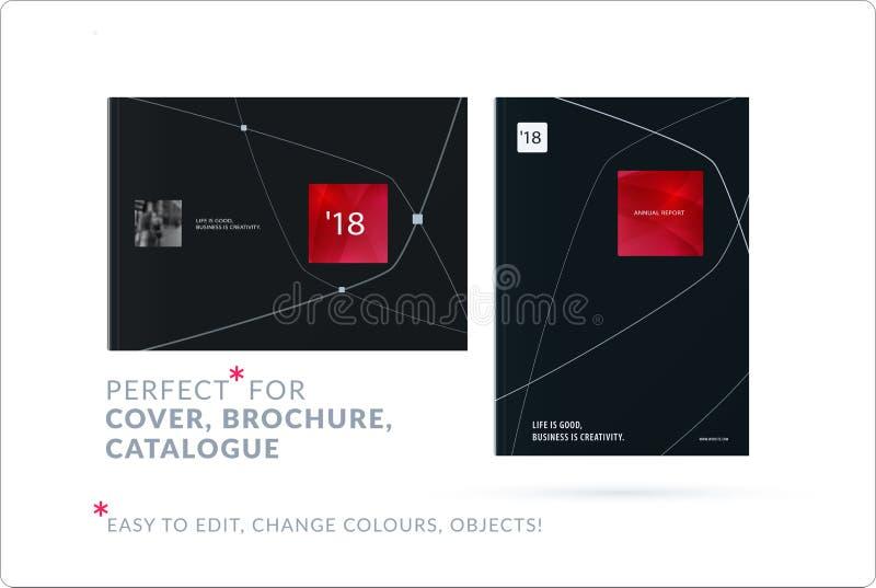 Affärsuppsättning av designbroschyren, abstrakt årsrapport, horisontalräkningsreklamblad i A4 vektor illustrationer