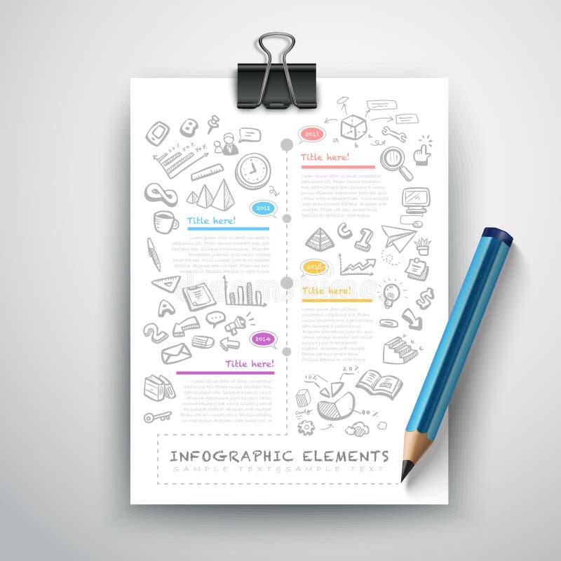 Affärsutbildningsblyertspenna Infographics royaltyfri illustrationer