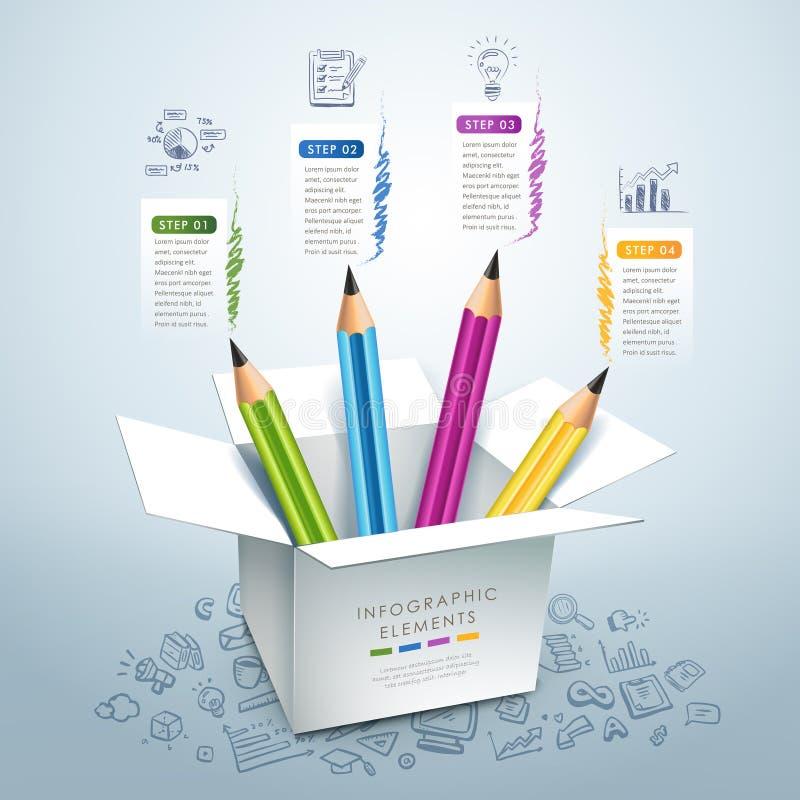 Affärsutbildningsblyertspenna Infographics stock illustrationer