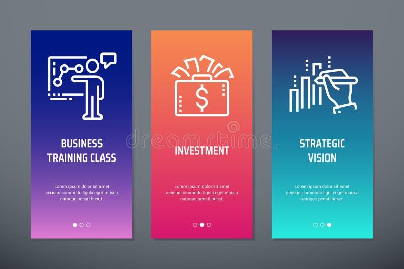 Affärsutbildningsgrupp, investering, vertikala kort för strategisk vision med starka metaforer stock illustrationer