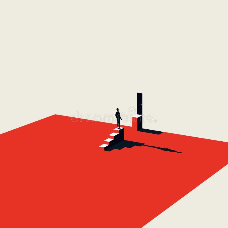 Affärsutmaning och lösning av vektorbegrepp i minimalist konststil Symbol av motivationen, ambition och framgång stock illustrationer
