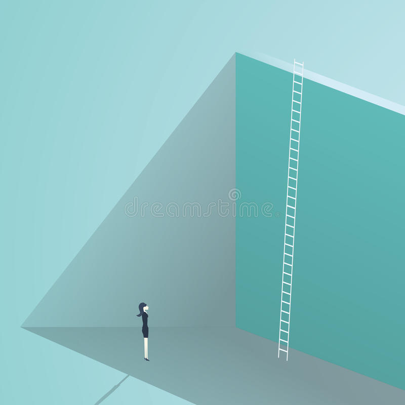 Affärsutmaningbegrepp med den stora väggen och stegen Affärskvinna som framme står, symbol för karriärtillväxt som finner royaltyfri illustrationer