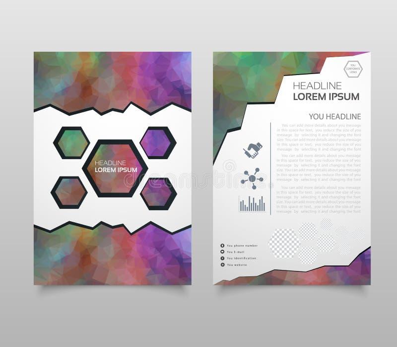 Affärsvektor Broschyrmallorientering, räkningsdesignårsrapport, tidskrift, reklamblad i A4 med röda flygtrianglar, fyrkant, ci stock illustrationer