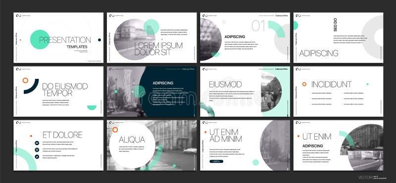 Affärsvektor för presentation Template Gröna geometriska beståndsdelar för glidbanapresentationer på en vit bakgrund stock illustrationer