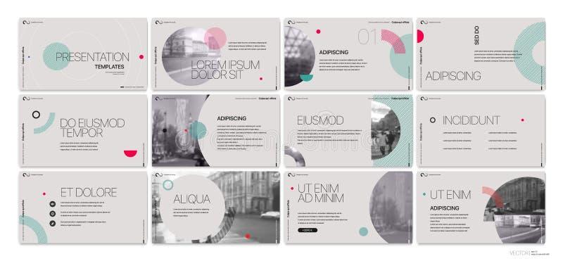 Affärsvektor för presentation Template Runda beståndsdelar för glidbanapresentationer på en grå bakgrund royaltyfri illustrationer