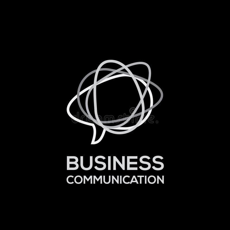 Affärsvektorlogo Kommunikationslogo Abstrakt logodesignmall Isolerade anförandebubblor stock illustrationer