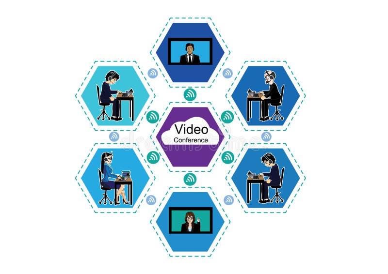 Affärsvideokonferens stock illustrationer