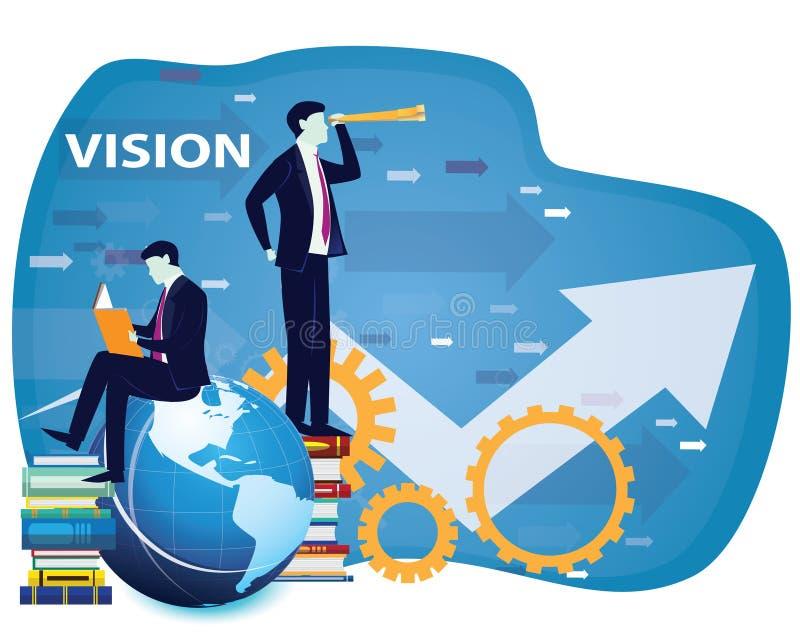 Affärsvisionbegrepp, affärsman Looking Forward till Futuen stock illustrationer