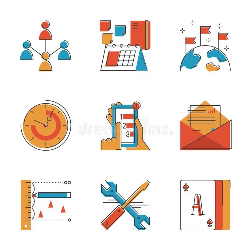 Affärsworkflowlinje symbolsuppsättning stock illustrationer