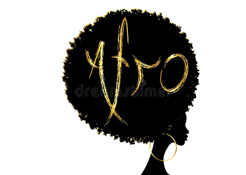 Curly afro hair, portrait African Women , dark skin female face with curly hair afro, ethnic traditional golden earrings. Hair style concept, Afro grunge gold stock illustration