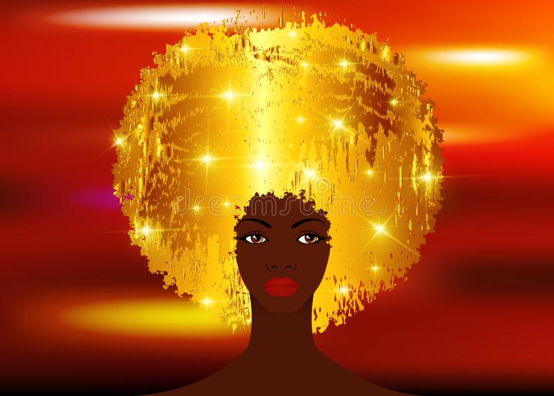 Portrait African Women , dark skin female face with beautiful traditional blond glitter shiny golden hair afro, hairstyle concept. Cover for black music, disco vector illustration
