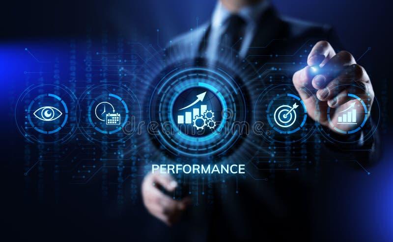 Aff?r f?r optimisation f?r f?rh?jning f?r indikator KPI f?r nyckel- kapacitet och industriell process stock illustrationer