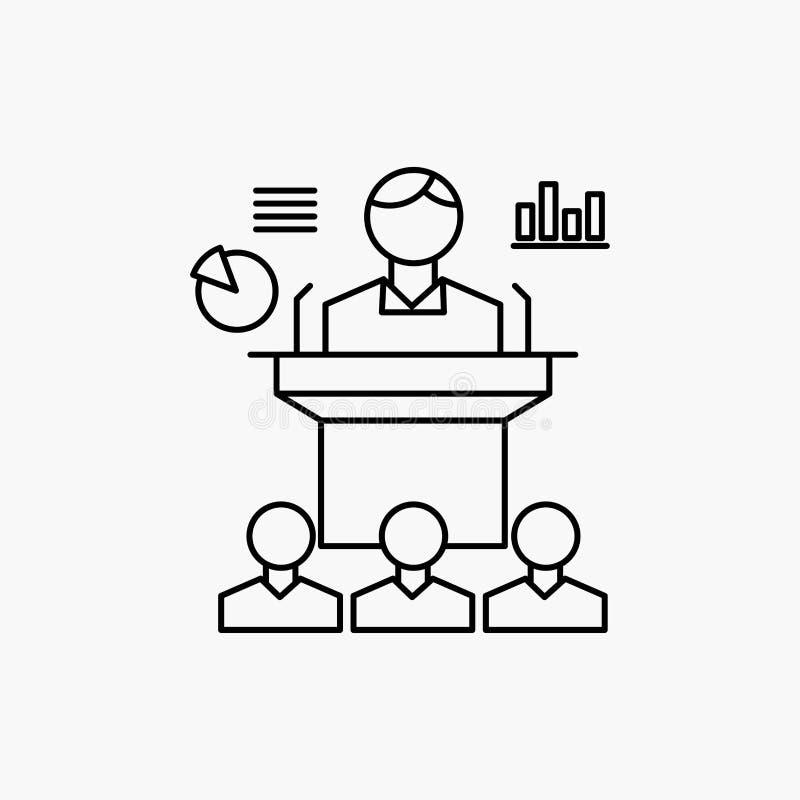 Aff?r konferens, regel, presentation, seminariumlinje symbol Vektor isolerad illustration royaltyfri illustrationer