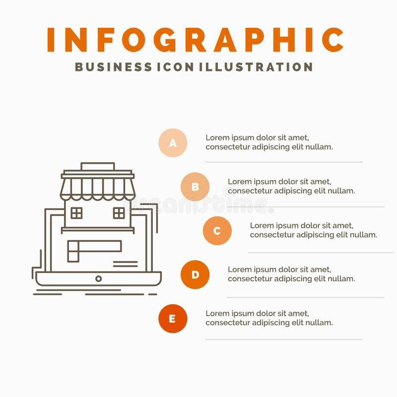 aff?r, marknadsplats, organisation, data, online-marknadsInfographics mall f?r Website och presentation Linje gr? symbol med stock illustrationer