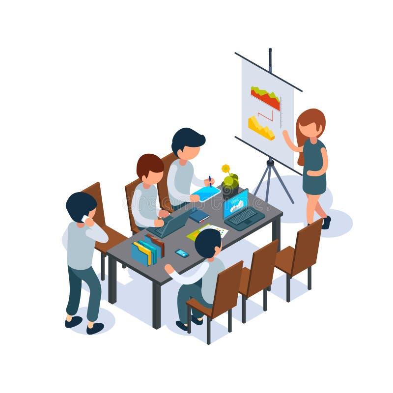 Aff?rscoachning Personen för konferenskorridoren talar, och peka på bläddra diagramchefer 3d som sitter på den isometriska tabell vektor illustrationer