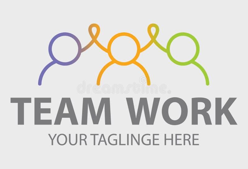 aff?rsfolk tillsammans Vektorillustrationlogo Grupp människoremblem Logo för affär för arbete för lag för kamratskappartnerskapse royaltyfri illustrationer