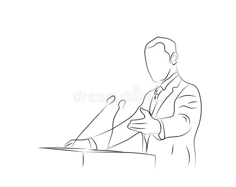 Aff?rskonferens, aff?rsm?te Man p? talarstolen framme av ?h?rare Offentlig högtalare som ger ett samtal på contien för konferensk vektor illustrationer