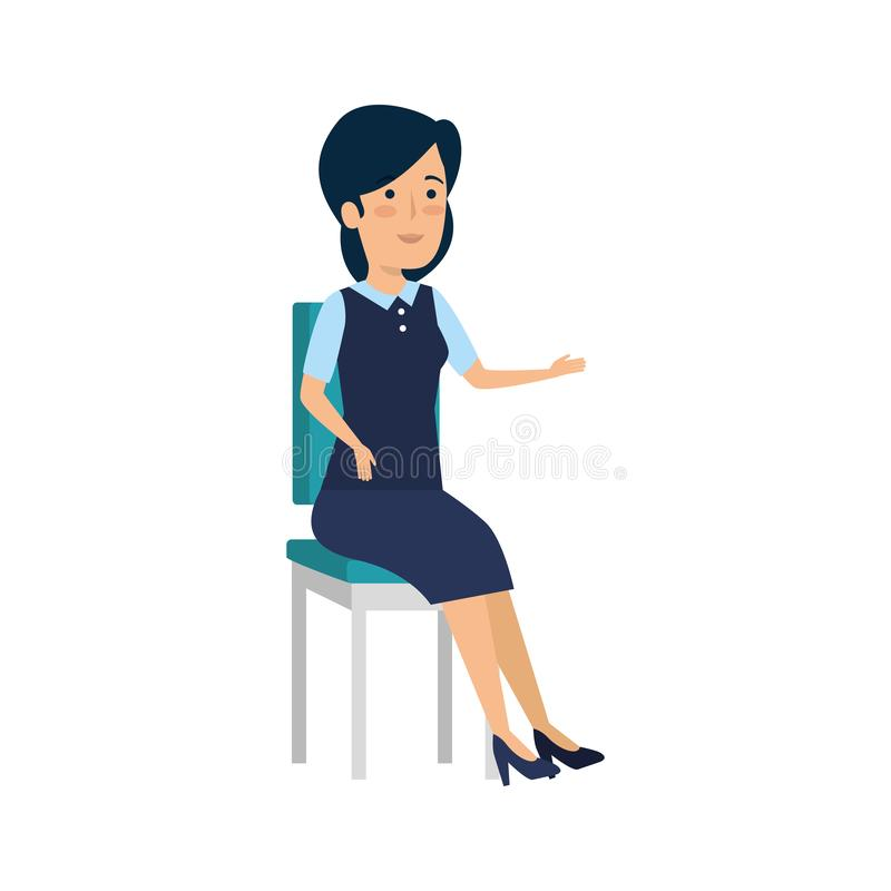 Aff?rskvinna som i regeringsst?llning sitter stolteckenet royaltyfri illustrationer