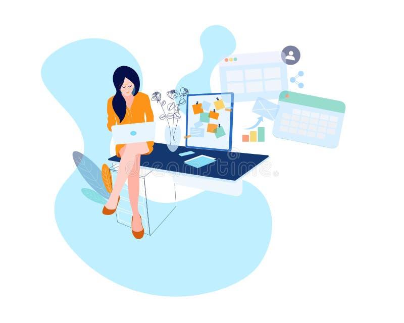 Aff?rskvinnan p? skrivbordet arbetar p? b?rbar datordatoren Vektorillustration i plan stil Pappers- ark som är lyckligt royaltyfri illustrationer
