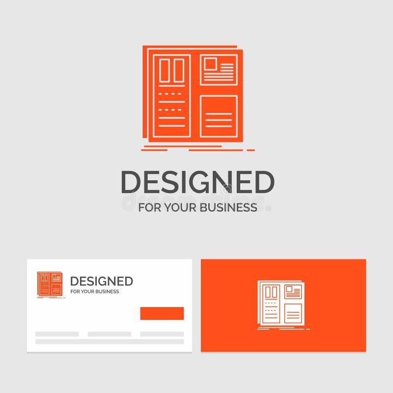 Aff?rslogomall f?r designen, raster, man?verenhet, orientering, ui Orange visitkortar med m?rkeslogomallen stock illustrationer