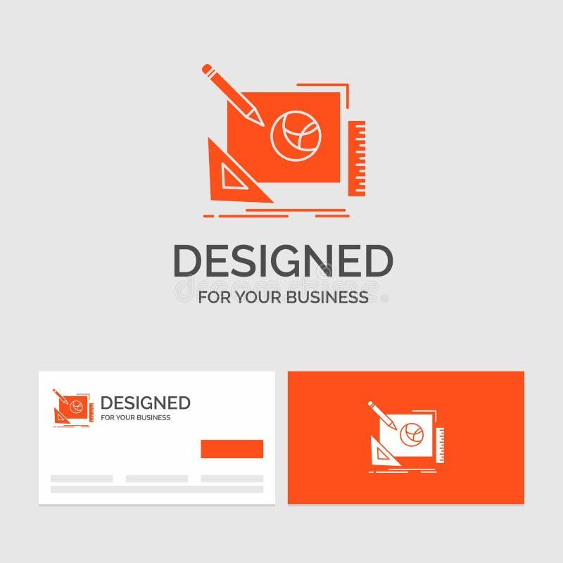 Aff?rslogomall f?r logoen, design som ?r id?rik, id?, designprocess Orange visitkortar med m?rkeslogomallen stock illustrationer