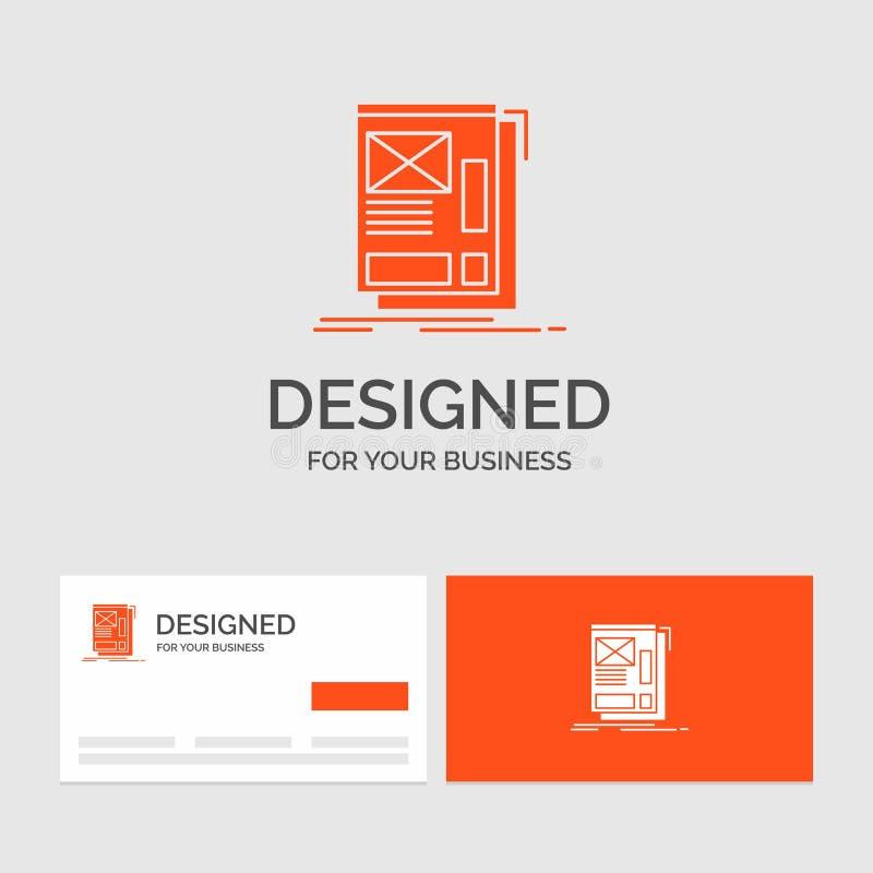 Aff?rslogomall f?r tr?d som inramar, reng?ringsduk, orientering, utveckling Orange visitkortar med m?rkeslogomallen vektor illustrationer