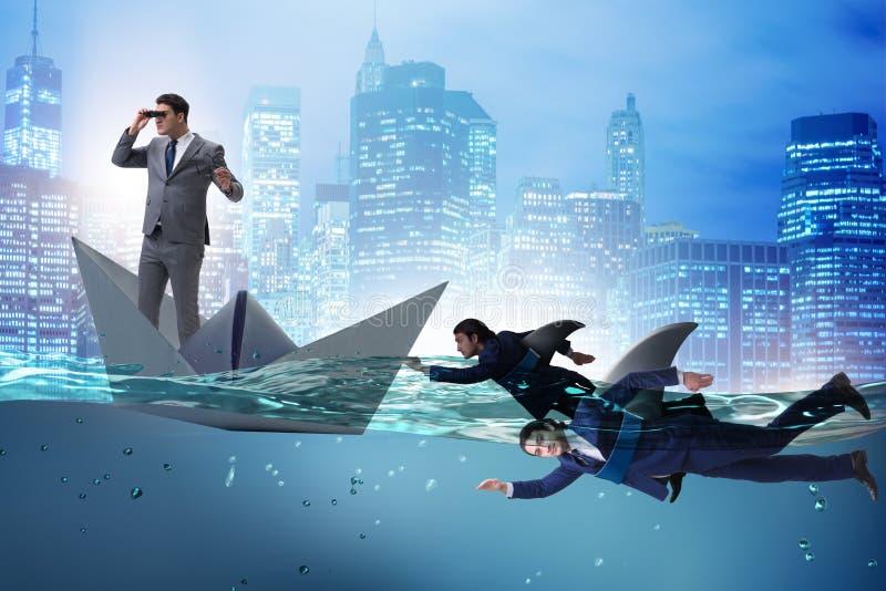 Aff?rsm?nnen i konkurrensbegrepp med hajen stock illustrationer