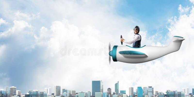 Aff?rsman i flygarehatt och skyddsglas?gon royaltyfria bilder