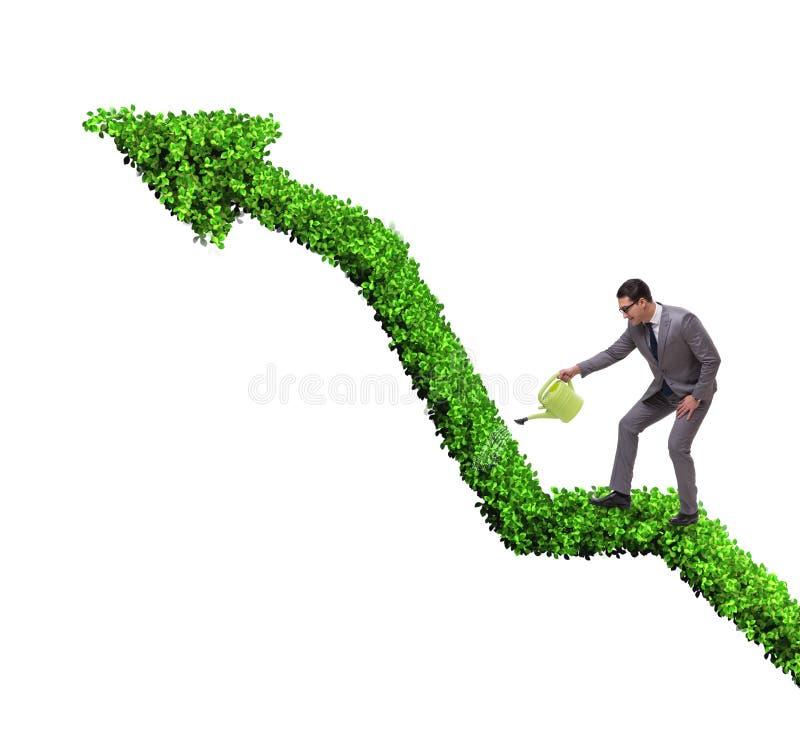 Aff?rsman i investeringbegrepp som bevattnar den finansiella linjen diagram arkivfoto