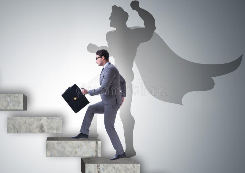 Aff?rsman med ambition av den passande superheroen arkivfoto