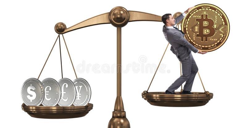 Aff?rsman p? v?g med bitcoins och andra valutor royaltyfria bilder