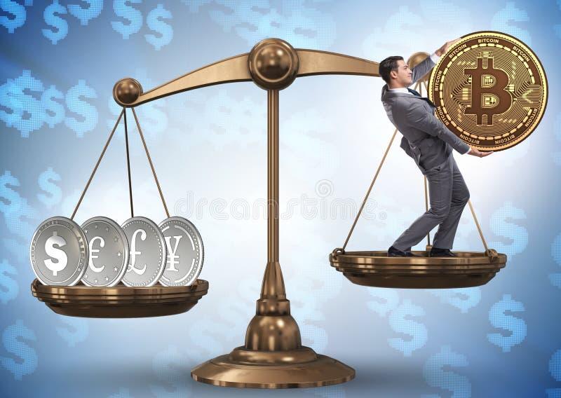 Aff?rsman p? v?g med bitcoins och andra valutor royaltyfria foton