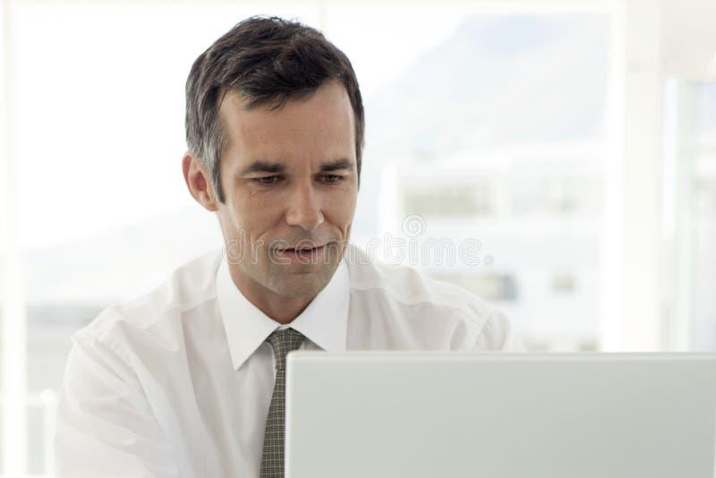 Aff?rsman som i regeringsst?llning arbetar p? b?rbara datorn arkivbild