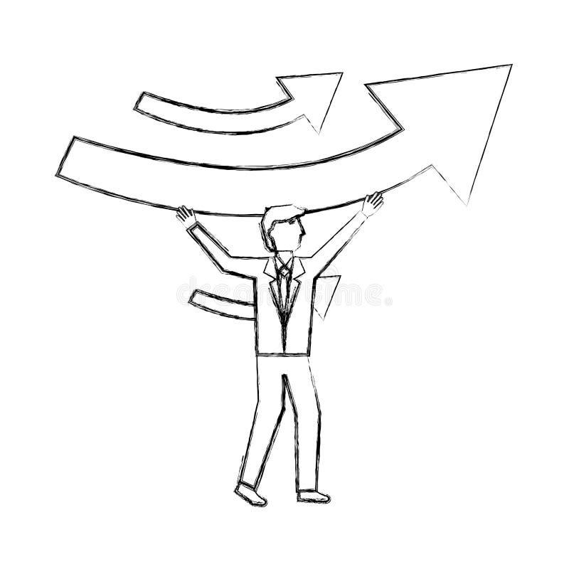 Aff?rsman som rymmer aff?r f?r piltillv?xtvinst vektor illustrationer