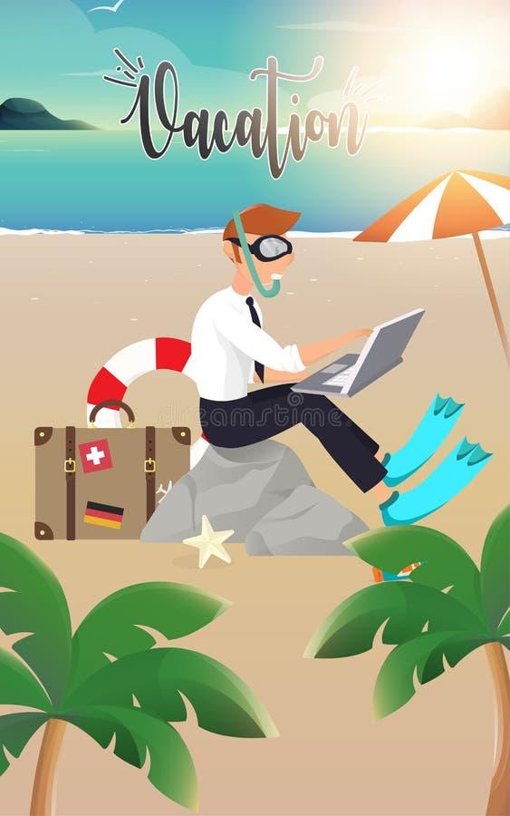 Aff?rsman Working p? stranden royaltyfri illustrationer