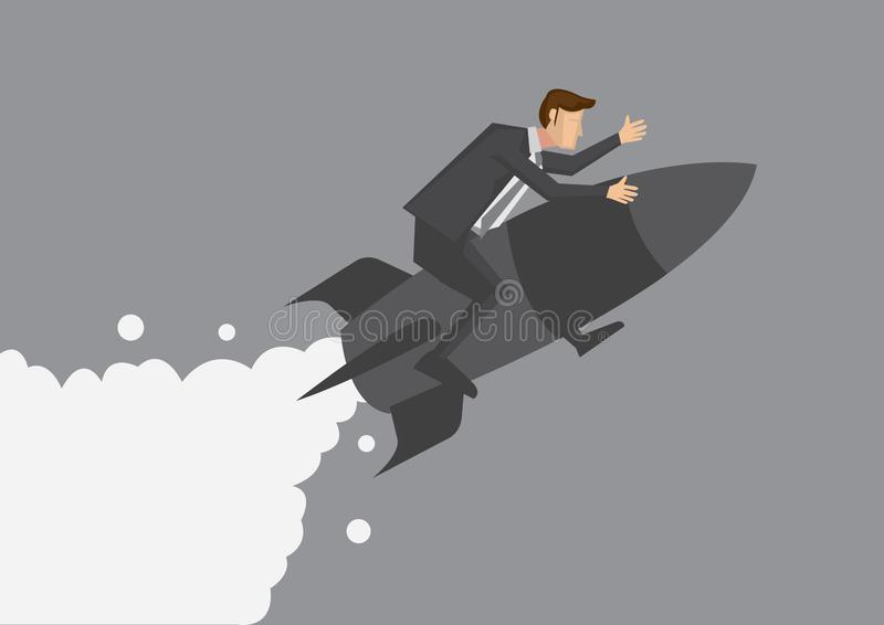 Aff?rsmanflyg p? raketvektorillustration vektor illustrationer