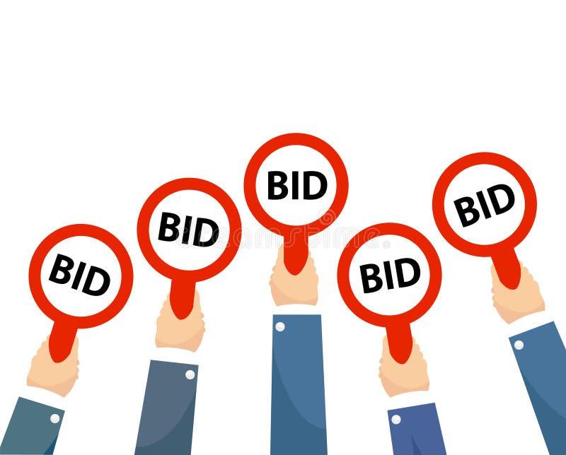 Aff?rsmank?pareh?nder som lyfter auktionbud, paddlar med nummer av det konkurrenskraftiga bjudande priset Auktionaffärsspekulante royaltyfri illustrationer