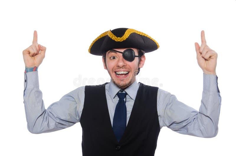 Aff?rsmannen piratkopierar isolerat p? vit bakgrund arkivbild