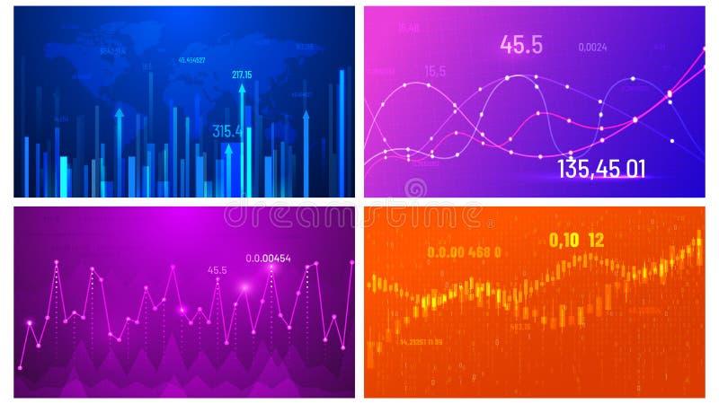 Aff?rstillv?xt chart. Skärm för ekonomisk trender, diagram över investeringar och bakgrundsvektor för abstrakta data i widescr royaltyfri illustrationer