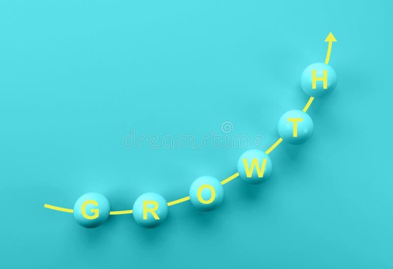 Aff?rstillv?xt, framsteg eller framg?ngbegrepp blå sfär med ordet TILLVÄXT på blå bakgrund vektor illustrationer