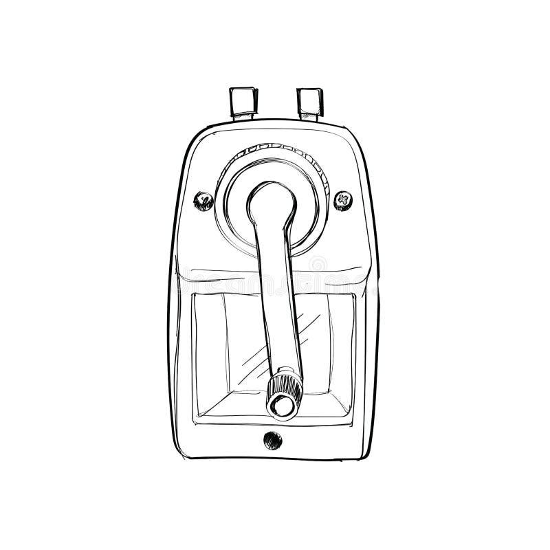 Affûteuse mécanique rouge de croquis tiré par la main de crayon d'isolement dessus illustration libre de droits