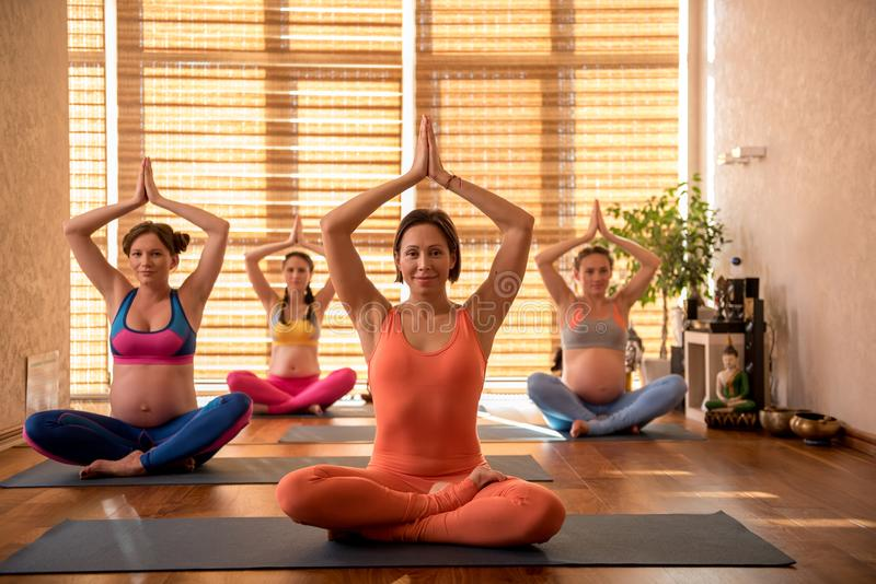 Affable smiling pregnant ladies doing yoga royalty free stock image