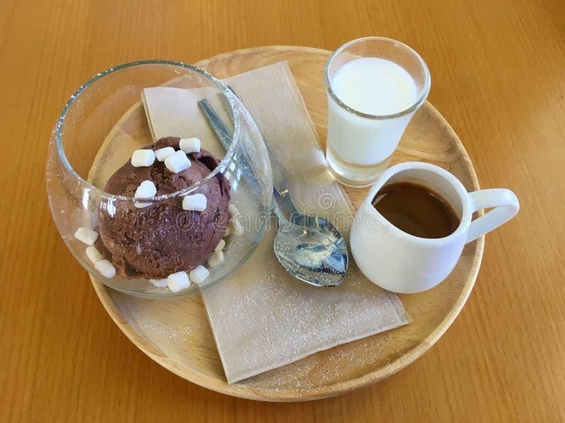Affagato ett klassiskt menyespressokaffe att h?lla p? chokladglass royaltyfri foto